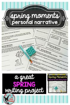 $ This Spring Moments Personal Narrative Writing Project is designed to allow your students to practice their personal narrative writing centered around a fun spring moment. Contains prewriting activities, a graphic organizer, leads and endings practice, drafting pages, editing checklist, and publishing papers. $