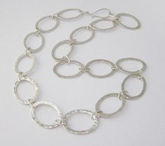 Handcrafted hammered silver oval links by BirgitteBruunJewelry