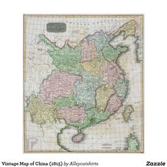 Vintage Map of China (1815) Poster