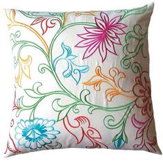 I want to make this lovely embroidered pillow, love the colors!