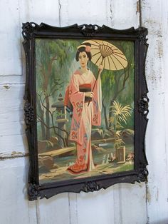 Vintage kitsch paint by numbers Oriental girl by AnitaSperoDesign, $68.00