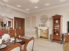 Дизайн интерьера четырехкомнатной квартиры в классическом стиле, ЖК «Duderhof club», 163 кв.м.