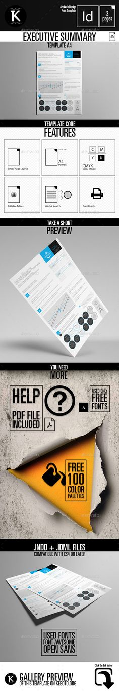 Executive #Summary Template A4 - Miscellaneous Print #Templates Download here: https://graphicriver.net/item/executive-summary-template-a4/19609444ref=alena994