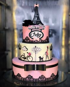 Paris Birthday Cakes, Paris Themed Cakes, Paris Themed Birthday Party, 12th Birthday Cake, Paris Cakes, Bolo Paris, Paris Sweet 16, First Communion Cakes, Character Cakes