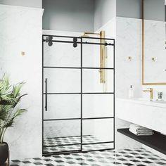 VIGO Elan 68 x 74 Frameless Sliding Shower Door in Matte Black with - The Home Depot Vigo Shower Doors, Frameless Sliding Shower Doors, Glass Shower Doors, Bathroom Doors, Bathroom Ideas, Bathrooms, Bathroom Updates, Vanity Bathroom, Bathroom Makeovers