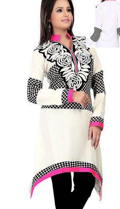 Indian Wardrobe is your ultimate destination for Fashionable ethnic women's clothes like Sarees, Salwar Kameez, Lehenga Sarees and Choli, Kurtis, Tunics and Salwar Suits. Off White Designer, Latest Kurti, Tunic Designs, Indian Sarees Online, Lehenga Saree, Salwar Kameez, Dresses For Work, Tunic Tops, Tunics
