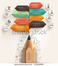 Education concept. Pencil and bubble speech arrow template. can be used for workflow layout, diagram, number options, step up options, web design, banner template, infographic.
