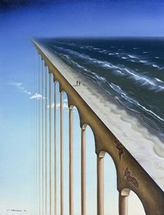 Surrealism Art by surrealist artist charnine - similar to dali, magritte This piece shows how a simple beach scene can be completely changed with the placement and use of the sky and columns. Rene Magritte, Fantasy Kunst, Fantasy Art, Art Du Monde, Street Art, Vladimir Kush, Surrealism Painting, Magic Realism, Photocollage