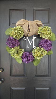 24 Year Round Green and Blue, Purple, or Brown Hydrangea Wreath, Summer, Wreath, Fall Wreath, Spring Wreath, With Initial Monogram via Etsy