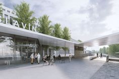 Visualizations by ZAN studio for an architectural competition designed by an architectural studio monom works. Visualizations of a railway station in Prague connecting the city and the airport. Train Station, Prague, Canopy, Competition, Studio, Architecture, City, Outdoor Decor, Design
