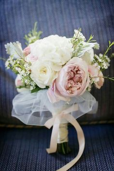 """Ballerina"" Bouquet Featuring Pastel Pink/Lavender English Garden Roses, White Jumbo Hydrangea, White Ranunculus, White Wax Flower, Hand Tied Together With Light Pastel Pink Satin Ribbon & White Silk Tulle******"