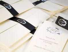 Black and white wedding invitation by Chartula