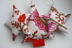 Set of 3 Fabric Christmas Ornaments by iheartrosie on Etsy