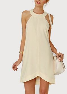 Chic off the Shoulder Beige Straight Dress for WomanBeige Round Neck Twisted Back Charm DressI actually like the high low length of this dress.womens dresses wedding in Diverse Women's Clothinglove the neckline on this cream dress Girl Fashion, Fashion Dresses, Womens Fashion, White Off Shoulder Dress, Vestidos Halter, Modelos Fashion, Straight Dress, Beautiful Dresses, Short Dresses