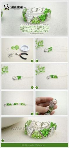Jewelry Making Tutorial--DIY Handmade Crystal Bracelets within 10 Minutes | PandaHall Beads Jewelry Blog by didyvargas