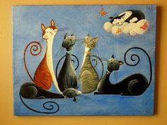 Custom Cat Portrait Painting Fantasy Cat by NaturelandsAndCo