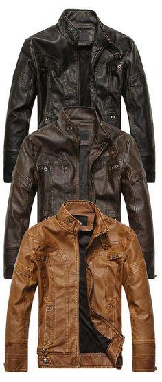 Stand Collar Panel Design PU Leather Fleece Jacket