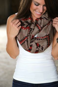 Tribal Infinity Scarf {Taupe}