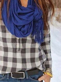 Loving that periwinkle blue scarf!