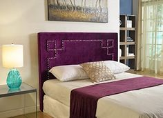 AmazonSmile: Abbyson Living Finn Velvet Nailhead Trim Upholstered Headboard, Full, Purple: Kitchen & Dining