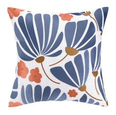 Elizabeth Olwen Breezy Floral Embroidered Throw Pillow