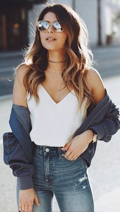 outfit idea top   jeans   bomber