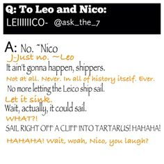 No. No Leico. It is Caleo and Nico by himself so far. The fandom needs to stop making these stupid otps.