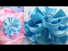 ▶ Голубой Цветок Канзаши / Пышный бант / МК / DIY / kanzashi tutorial - YouTube