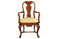 Anne Walnut Country Armchair, Oatmeal