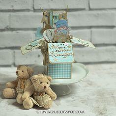 CraftHobby Oliwiaen: First Birthday Pop-up Box w/Tutorial. Przestrzenna kartka na roczek, plus kurs