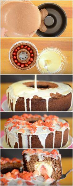 Bolo Túnel de Leite Ninho com Morango   Além de lindo, um sabor inexplicável! #bolo #bolotunel #chocolate #morango #leiteninho