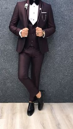Collection: Spring – Summer 2019 Product: Slim Fit Tuxedo Color Code: Claret Red Size: Suit Material: 70 viscose, 30 polyester Machine Washable: No Fitting: Slim-fit Package Include: Jacket, Vest, Pants Only Gifts: Shirt, Chain and Bow Tie Blazer Outfits Men, Stylish Mens Outfits, Slim Fit Tuxedo, Tuxedo For Men, Blue Suit Men, Black Suits, Wedding Dress Men, Wedding Suits, Tuxedo Wedding