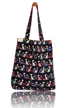 Cheeky Cats Lined Tote Bag - Handmade in London via Etsy Tote Bags Handmade, London, Cats, Fabric, Gatos, Tejido, Big Ben London, Tela, Fabrics