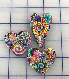 Freeform embroidery heart brooch Brooch 173