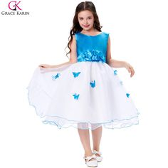 Grace Karin Flower Girl Dress For Wedding 3D Butterfly Bowknot Beach Flower Girl Dress Girl Pageant Communion Dresses 7552