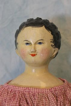 """Raredolls store c.1860 Antique 20"""" Hand Carved German Doll is a Hand Painted Primitive Doll. Click to view supersized image c.1860 Antique 20.5"""" German Hand Carved hand painted Wood Primitive Doll."""