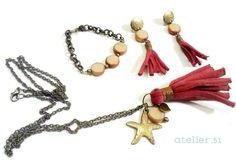 "Collar, pulsera y pendientes ""Vintage Red"" https://www.facebook.com/atelier51.Plasencia http://www.atelier51handmade.com/"