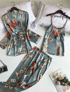 Lisacmvpnel 3 Pcs Printing Women Robe Sets Spaghetti StrapCardiganPa intotham - Women Robes - Ideas of Women Robes