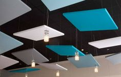 Single-sided Stereo acoustic panels by Texaa® - Akustik ve Ses Yalıtımı Acoustic Ceiling Panels, Acoustic Fabric, Office Ceiling, Acoustic Design, Plafond Design, Dropped Ceiling, Sound Absorbing, False Ceiling Design, Office Designs