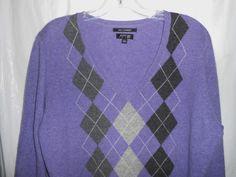 APT 9 Women 100% CASHMERE Sweater Size XL XLarge -Purple Argyle V-Neck L/S  #Apt9 #CashmereSweater