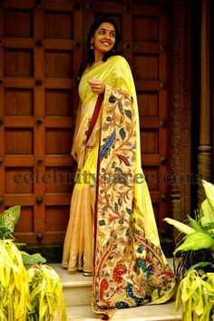 Kalamkari is the art of hand painting and/or block printing on fabrics with the help of natural dyes, produced in parts of India and Iran. Indian Attire, Indian Ethnic Wear, Indian Style, Kalamkari Saree, Silk Sarees, Indian Beauty Saree, Indian Sarees, Kerala Saree, Indian Dresses