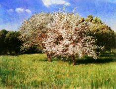 Pál Szinyei Merse (Hungarian, Blooming Apple Trees, Oil on canvas, 50 x 65 cm. Blooming Apples, European Paintings, Blossom Trees, World's Fair, Apple Tree, Mountain Landscape, Hanging Art, Figure Painting, Contemporary Artists