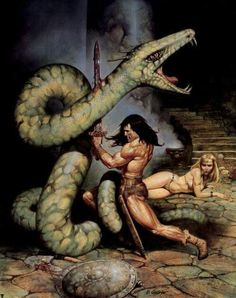 m Barbarian Sword Giant Snake f npc Captiver wilderness cave dungeon Conan the Barbarian - art by Blas Gallego Red Sonja, Dark Fantasy, Comic Books Art, Comic Art, Conan Der Barbar, Robert E Howard, Conan The Destroyer, Bd Comics, Sword And Sorcery