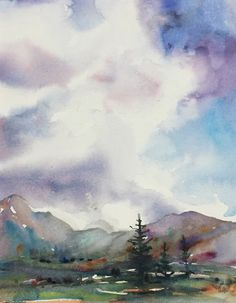 The Mountains Call My Name by Yvonne Joyner Watercolor ~ x