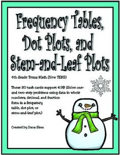 Includes 20 task cards that support 4.9B: Solve one- and two-step problems using data in whole numbers, decimal, and fraction form in a frequency table, dot plot (line plot), or stem and leaf plot. Includes gameboard, answer key, and answer document.