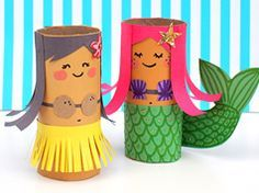 HUla girl and mermaid toilet rolls in Ideas for kids' crafts