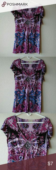 """Live and Let Live Purple Hue Top. Size Large.  Chest 22"""".  V Neckline with diamond shaped jewels.  Measurements are approximate and in flat position. live and let live Tops"""