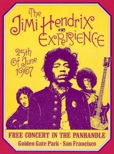 """JIMI HENDRIX Concert Poster 1967 San Francisco • 100% Mint unused condition • Well discounted price + we combine shipping • Click on image for awesome view • Poster is 12"""" x 18"""" • Semi-Gloss Finish • Great Music Collectible - superb copy of original • Usually ships within 72 hours or less with tracking. • Satisfaction guaranteed or your money back.Go to: Sportsworldwest.com"""