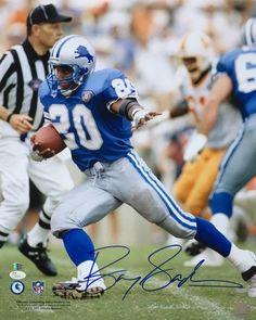 1521d0dd088 Barry Sanders Signed 16x20 Detroit Lions Blue Jersey Photo JSA+SI COA. Nfl  FootballFootball ...