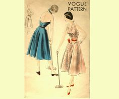 50s Full Skirt Halter Dress Pattern Vogue by allthepreciousthings